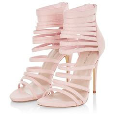 Pink Suedette Strappy Heels (195 BRL) ❤ liked on Polyvore featuring shoes, sandals, strap heel sandals, strappy sandals, strap sandals, pink strappy sandals and zip shoes