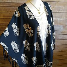 Unique navy blue kimono scarf Just gorgeous. Perfect addition to your boho, spring, and summer look. Viscose. Brand new! boutique Accessories Scarves & Wraps