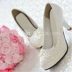 Hvit - Bryllup sko - Dame - Hæler / Spiss tå - høye hæler - Bryllup / Fest/aften 2015 – kr.282