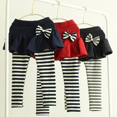 2015 spring and autumn bow girls child clothing culottes long trousers legging D0976