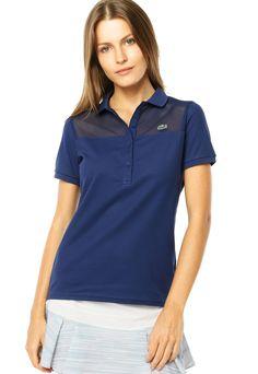 Camisa Polo Lacoste Recorte Azul - Compre Agora   Dafiti Brasil Brasil,  Camisa De Polo 43395393fc
