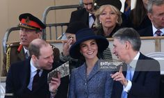 Britain's Prince William, Duke of Cambridge, (front row, L), Britain's Catherine, Duchess of Cambridge, (front row, centre) and British Chancellor of the Exchequer Philip Hammond (front row, R) chat as they attend a Service of Commemoration and Drumhead Service on Horse Guards Parade in central London on March 9, 2017, which honours the service and duty of both the UK Armed Forces and civilians in the Gulf region, Iraq and Afghanistan, and those who supported them back home, from…
