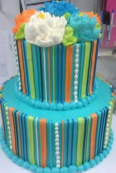 Teal striped cake from White Flower Cake Shoppe.