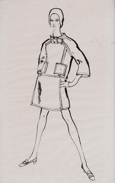 Todd Draz (1917 - ) Original Fashion Illustration Commissioned for Sunday Times Fashion Page Model Wearing Spanish Fashion Design of Suit with Raglan Sleeves C1960's, Ink on Paper 60 x 38 cms £2,500