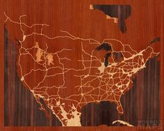Woodcut Maps. Great gift or art for your home or office.