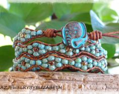 Turquoise And Seed Bead Leather Wrap by AZJEWELRYBYELIZABETH