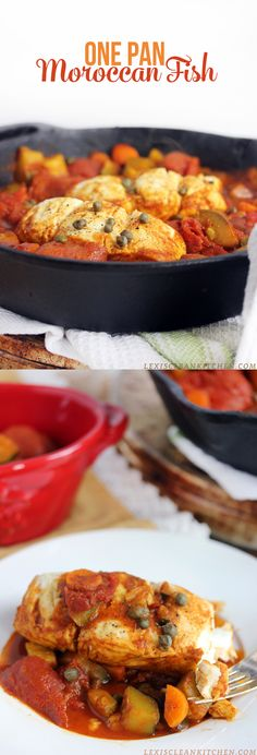 One Pan Moroccan Fish (healthy, gluten-free, paleo, 30 minutes or less) from Lexi's Clean Kitchen