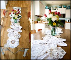 DEC  16  2009  DIY {doily table runner}  After posting pictures of the kitchen remodel, I had several emails about the doily table runner I made. So here is a little tutorial on that.    I was inspired by this picture on the Country Living website:      I liked that it looked fresh, but a bit vintage at the same time. I had a few big doilies and my mom had several more she passed along to me. I still needed some small ones though. I visited a local flea market and found a box full of them…