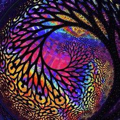stained glass impression mandala.
