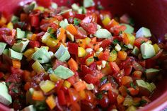 Summer Veggie Salsa by playinghouseblog: A go to summer party dish which is great as a salad or as atopping for grilled chicken, fish or steak.