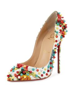 "Christian Louboutin floral-print embossed leather pump with multicolor spikes. 4.8"" covered stiletto heel. Pointed toe frames low-cut vamp. Creamy leather lining with padded insole. Signature red leat"