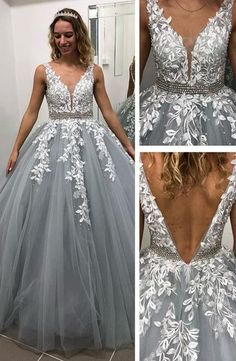 Charming Open V Back Appliques Tulle Ball Gown Prom Dresses, Beaded Wedding Party Gown By Fancygirld on Luulla Tulle Ball Gown, Ball Gowns Prom, Party Gowns, Wedding Party Dresses, Ball Dresses, Prom Dresses, Formal Dresses, Long Dresses, Bridesmaid Gowns