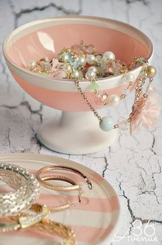 DIY Jewelry Holders made with Dollar Store dishes.