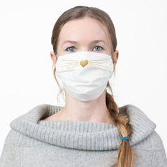 Nose and Whiskers Gold Heart Cute Adult Cloth Face Mask - tap to personalize and get yours #AdultClothFaceMask #afflink #animal #whiskers #nose #heart Shape Of You, Ear Loop, Health And Safety, Maid Of Honor, Sensitive Skin, Tapas, How To Wear, Beauty, Face Masks