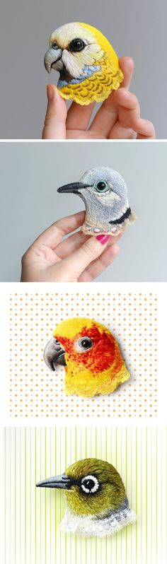 Lifelike Bird Pins Embroidered by Paulina Bartnik