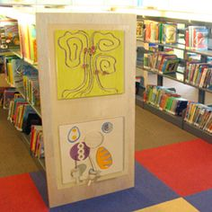 interactive panels.  Love the  idea of activities on ends of book shelves SP