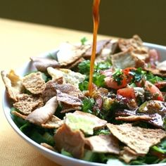Fattoush - Lebanese salad with crispy pitas, veggies, and a special dressing