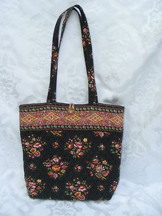 Vera Bradley Brown Floral Handbag, Fabric Tote
