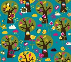 Lillestoff Appletree Eulen Owls Blumen Käfer von Stoff-Zaubereien auf DaWanda.com