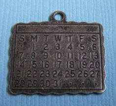 Vintage Beau Calendar Sterling Charm | eBay