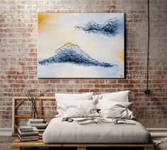 Bring a boho touch to your bedroom! Blue modern wall art print by FraBor Art.