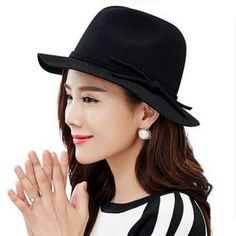 Wide brim fedora hat for women winter felt hats wool blend