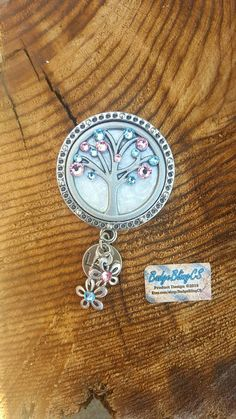 Labor and Delivery nurse badge.  Tree of Life: Pearl White badge reel cover with light blue and light pink crystals. L&D, OB nurse ID badge. Check out this item in my Etsy shop https://www.etsy.com/listing/266176691/labor-and-delivery-nurse-badge-tree-of