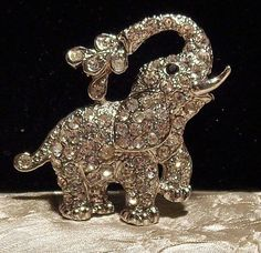 Vintage Rhinestone Elephant Brooch With Water 1960's