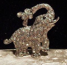 Vintage Rhinestone Elephant Brooch w/Water