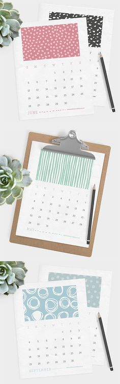 On this colourful printable 2016 calendar you will find a fun, graphic pattern to delight you each month. Print as many as you like, place in a clipboard, and give it as a gift to friends, family and co-workers! A 4 x 6 size of this calendar is also available.