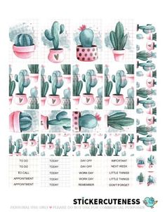 Free Printable Sticky Cactus Planner Stickers from StickerCuteness