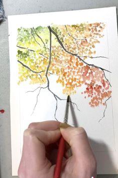 Watercolor Paintings Nature, Watercolor Paintings For Beginners, Watercolor Art Lessons, Watercolor Trees, Watercolor Drawing, Paintings Of Trees, Fall Paintings, Watercolor Art Landscape, Flower Watercolor
