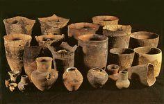 Many earthenware vessels which were excavated in Hokkaido.   Jomon-era. BC.7,300 - BC.800.