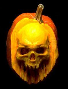 Realistic skull Pumpkin carving