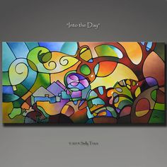 Geometric Abstract Print  Giclee Print on Stretched Canvas