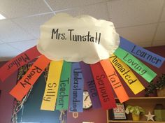 Acrostic Rainbow-Namebow!  This makes the room so cheery and cute!  Perfect for adjectives, poetry, and Spring time!