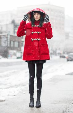 Langley Fox, red coat, hood, tights, laced ankle boots / Garance Doré