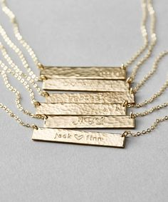 Hand-textured & personalized bar necklaces!  Custom names, initials, dates, etc.  Gold, Silver & Rose Gold.