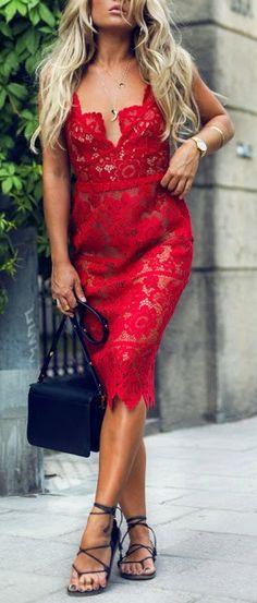 Red lace midi dress.
