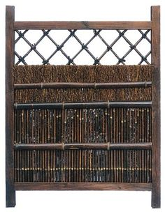 Asian Gardening & Fence Products – 4 ft. Tall Japanese Zen Style Wood & Bamboo Garden Gate – Dark Stain