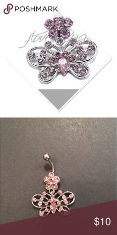 Pink rhinestone butterfly belly ring New in package pink gemstone butterfly navel ring. 14 gauge surgical steel. Bar  length 10mm Jewelry