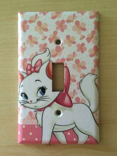 Disney Aristocats Marie light switch plate cover by JTsGrotto Switch Plate Covers, Light Switch Plates, Light Switch Covers, Disney Clothes, Disney Outfits, Nursery Wall Art, Girl Nursery, Marie Cat, Disney Bedrooms