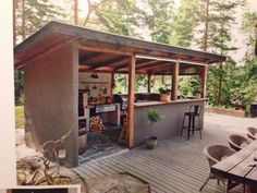 Rustic Outdoor Rooms with Storage . Rustic Outdoor Rooms with Storage . Double Your Outdoor Space with This Backyard Room Rustic Outdoor Kitchens, Outdoor Kitchen Bars, Outdoor Kitchen Design, Outdoor Rooms, Outdoor Living, Outdoor Decor, Outdoor Ideas, Simple Outdoor Kitchen, Rustic Deck