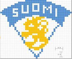 Leijona Suomi Knit Patterns, Beading Patterns, Cross Stitch Patterns, Knitting Charts, Free Knitting, Crochet Chart, Knit Crochet, Handicraft, Logo Branding