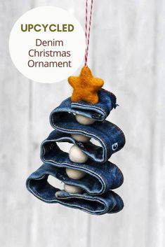Use the waistband from an old pair of jeans to make this simple upcycled denim Christmas ornament. Recycled Christmas Decorations, Photo Christmas Ornaments, Christmas Love, Diy Christmas Ornaments, Holiday Crafts, Holiday Fun, Upcycled Crafts, Diy Crafts, Denim Scraps