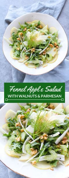 Fennel Apple Salad with Walnuts and Parmesan - Easy Dinner Recipes - Salat Healthy Salad Recipes, Gourmet Recipes, Appetizer Recipes, Cooking Recipes, Soup Appetizers, Vegetarian Appetizers, Easter Recipes, Recipes Dinner, Vegetarian Recipes