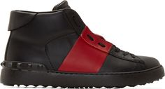 Valentino Black & Red High-Top Sneakers