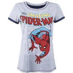 Spiderman - Comic Style  - tryk på fronten - lys grå udvendigt, inderside mørk blå - mørkeblå syninger og manchetter - rund hals - normal pasform  En af de absolut mest populære superhelte i Marvel universet er uden tvivl Spiderman, som man første gang stiftede bekendtskab helt tilbage i 1962. Tegneserien blev gennem længere tid markedsført på vore breddegrader under navnet Edderkoppen, men fra 1999 skiftede navnet til Spiderman, under hvilket navn superhelten lige siden har været kendt…