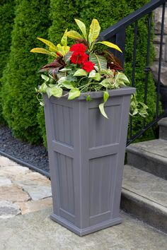 Proudly made in the USA The Cape Cod Tall Planter is durable, won't fade or crack, and is backed by a 15-year residential warranty. Tall Planters, Square Planters, Outdoor Planters, Garden Planters, Indoor Outdoor, Outdoor Decor, Wood Planters, Planter Boxes, Outdoor Ideas