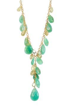 Candela Jewelry Chrysoprase, Prehnite & Green Garnet Y Necklace  $144.00
